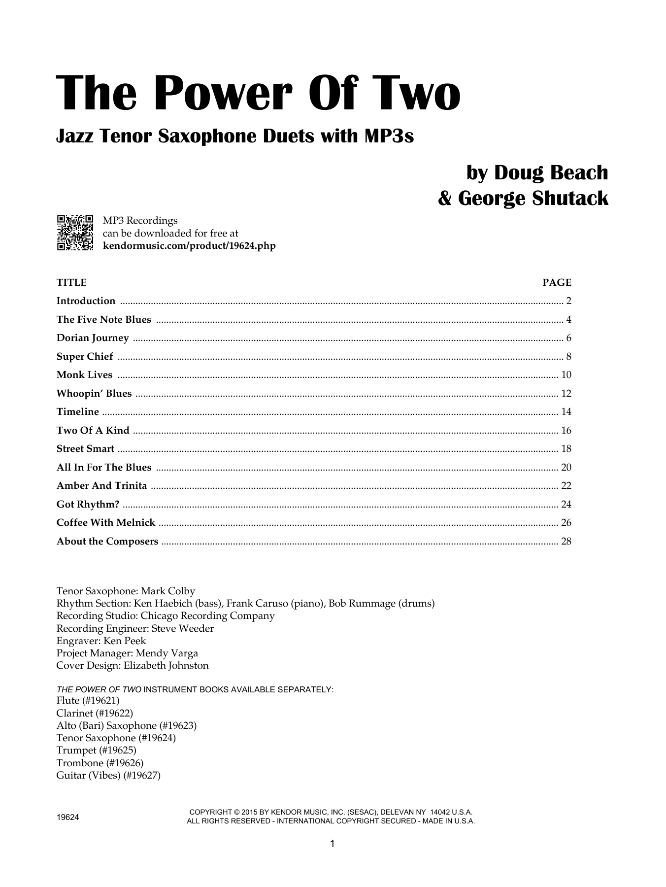 The Power Of Two - Tenor Saxophone Sheet Music