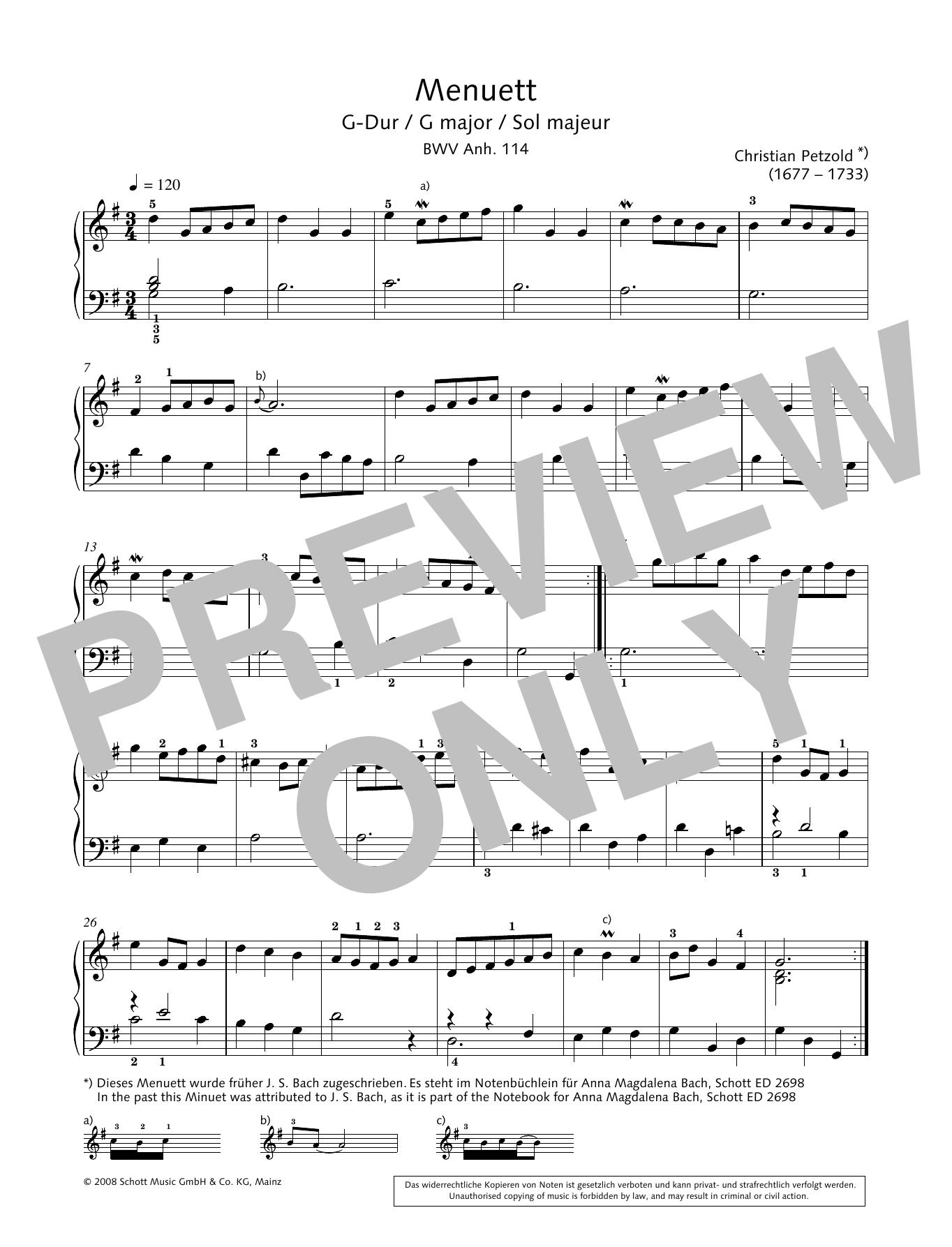 Minuet in G major, BWV Anh. 114 Sheet Music