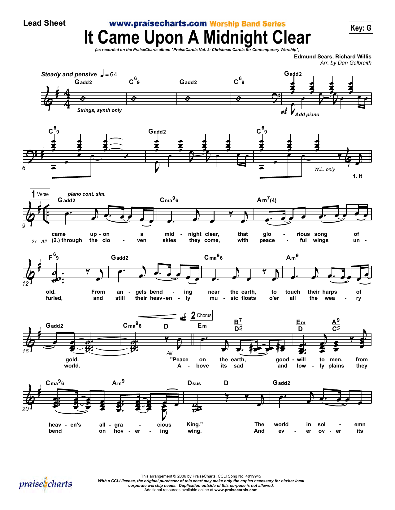 It Came upon a Midnight Clear   Orchestration Noten   Dan Galbraith    PraiseCharts