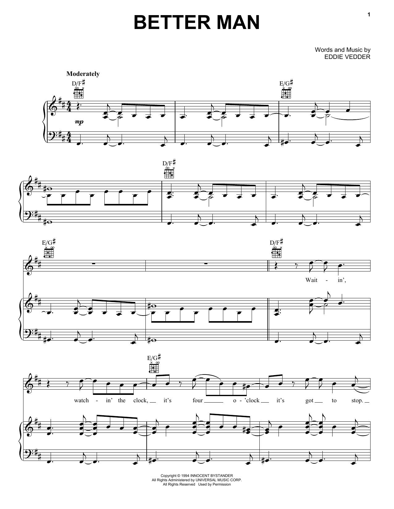 Better Man Sheet Music By Pearl Jam Piano Vocal Amp Guitar