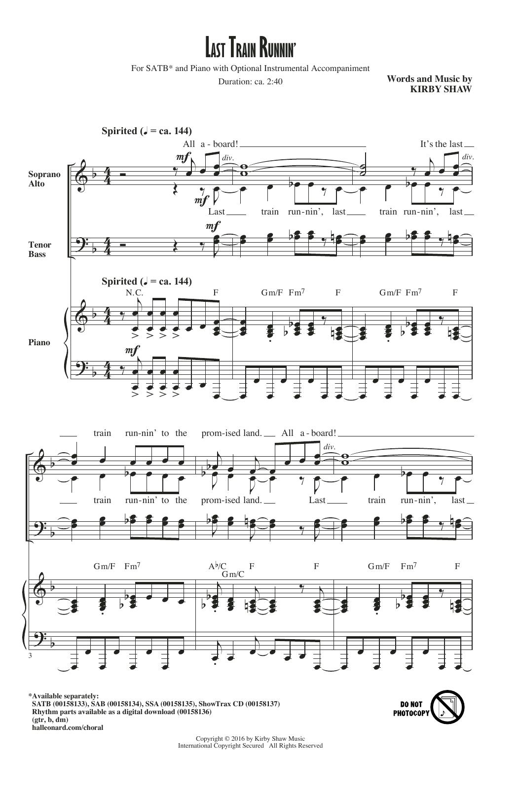 Last Train Runnin' (SATB Choir)
