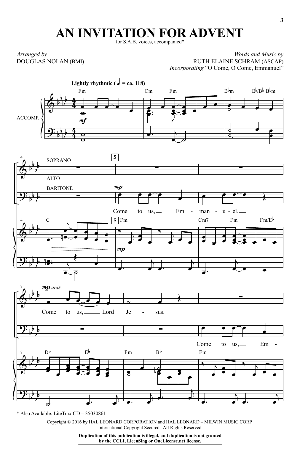 An Invitation For Advent Sheet Music