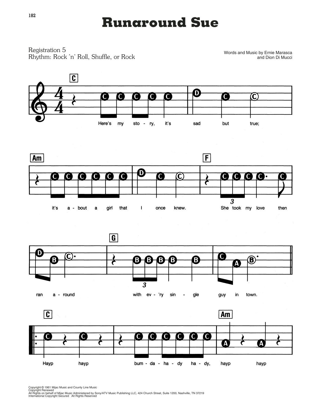 Runaround Sue Sheet Music