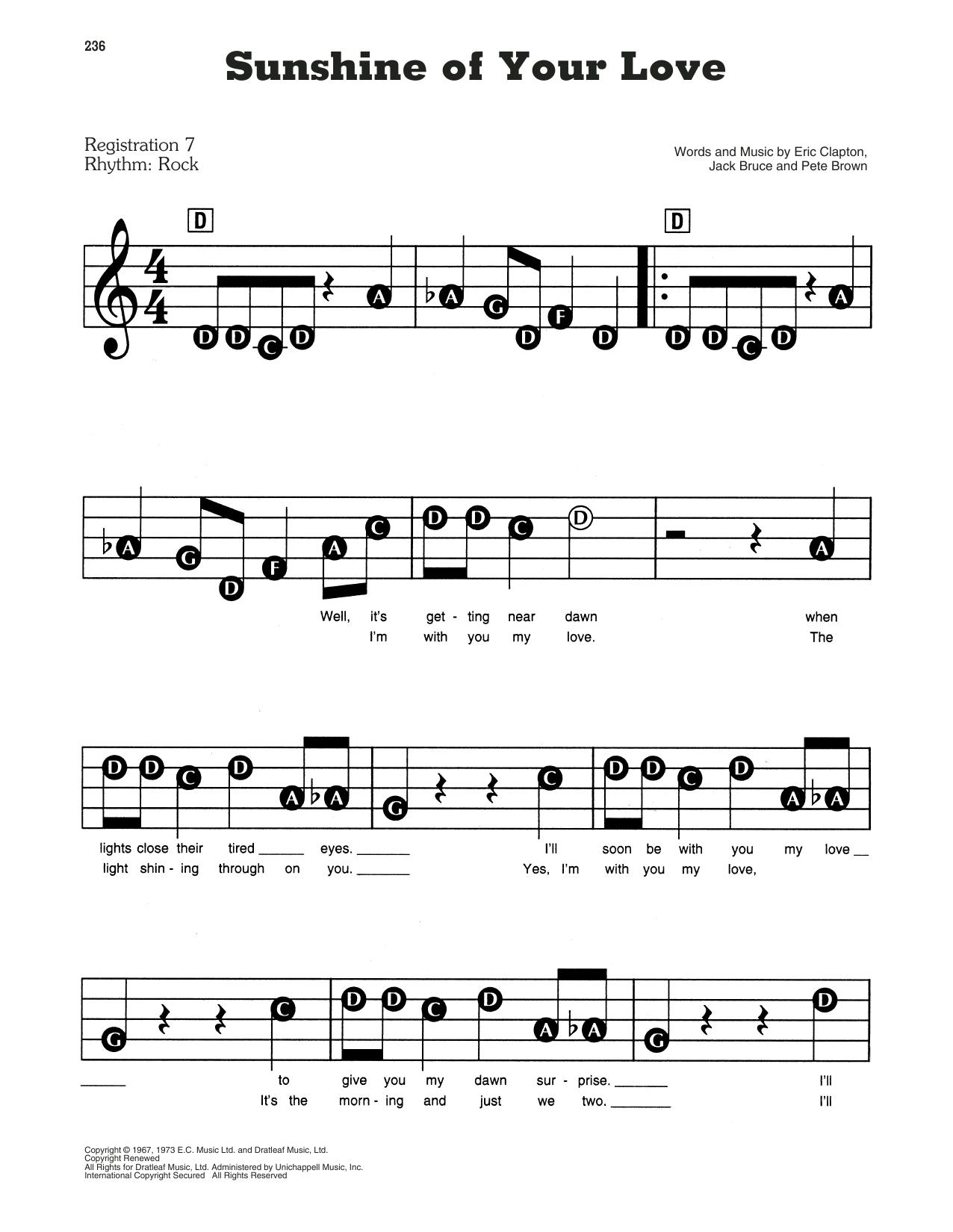 Sunshine Of Your Love Sheet Music