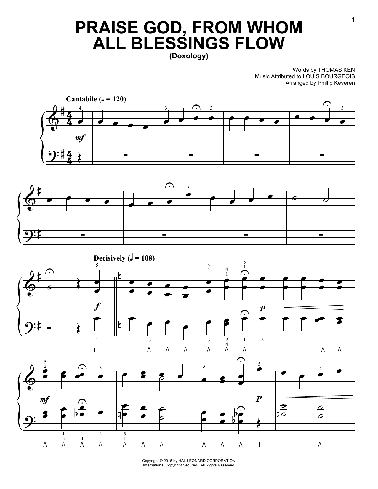Praise God, From Whom All Blessings Flow [Classical version] (arr. Phillip Keveren) (Easy Piano)