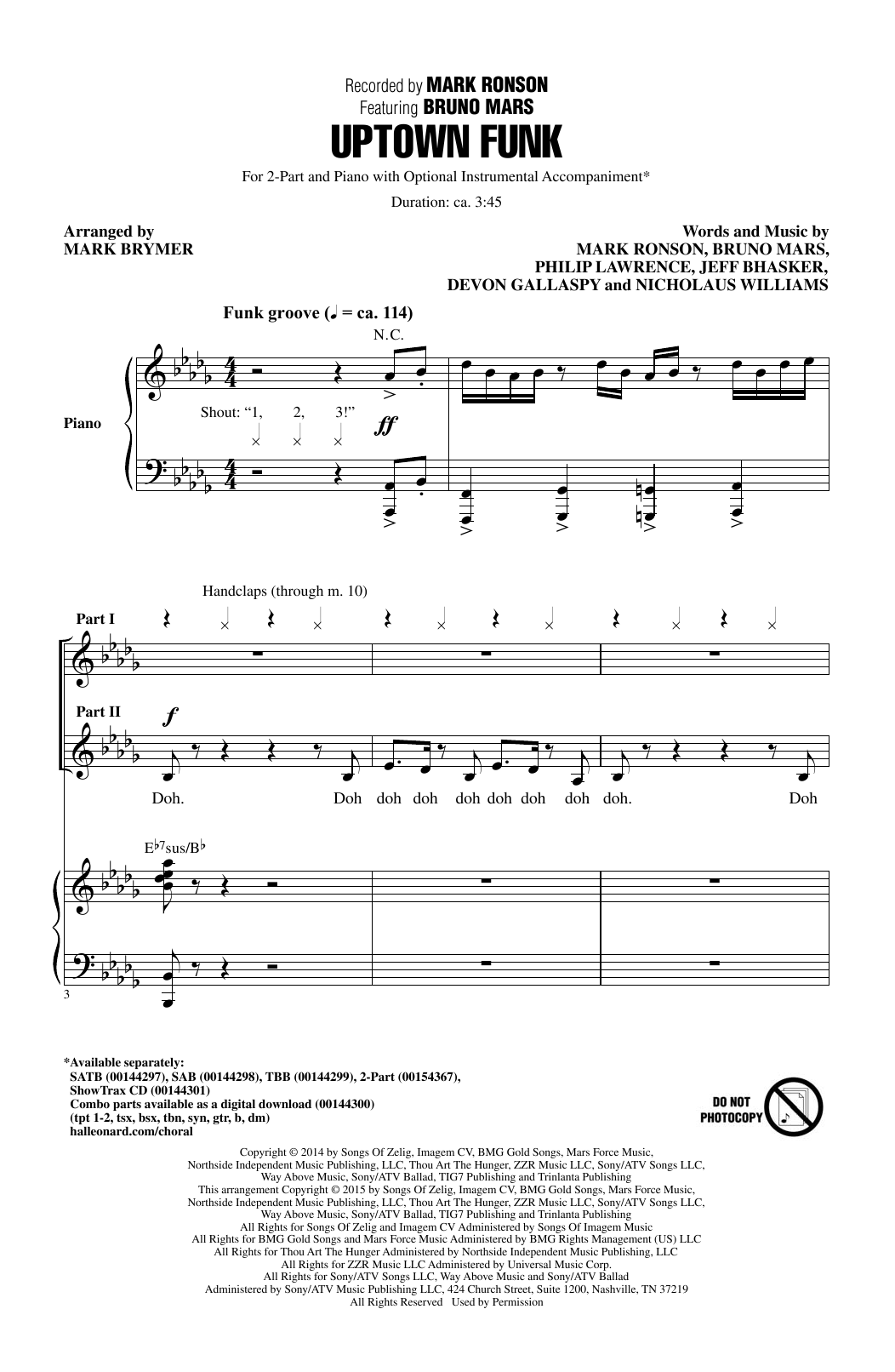 Uptown Funk (feat. Bruno Mars) (arr. Mark Brymer) (2-Part Choir)