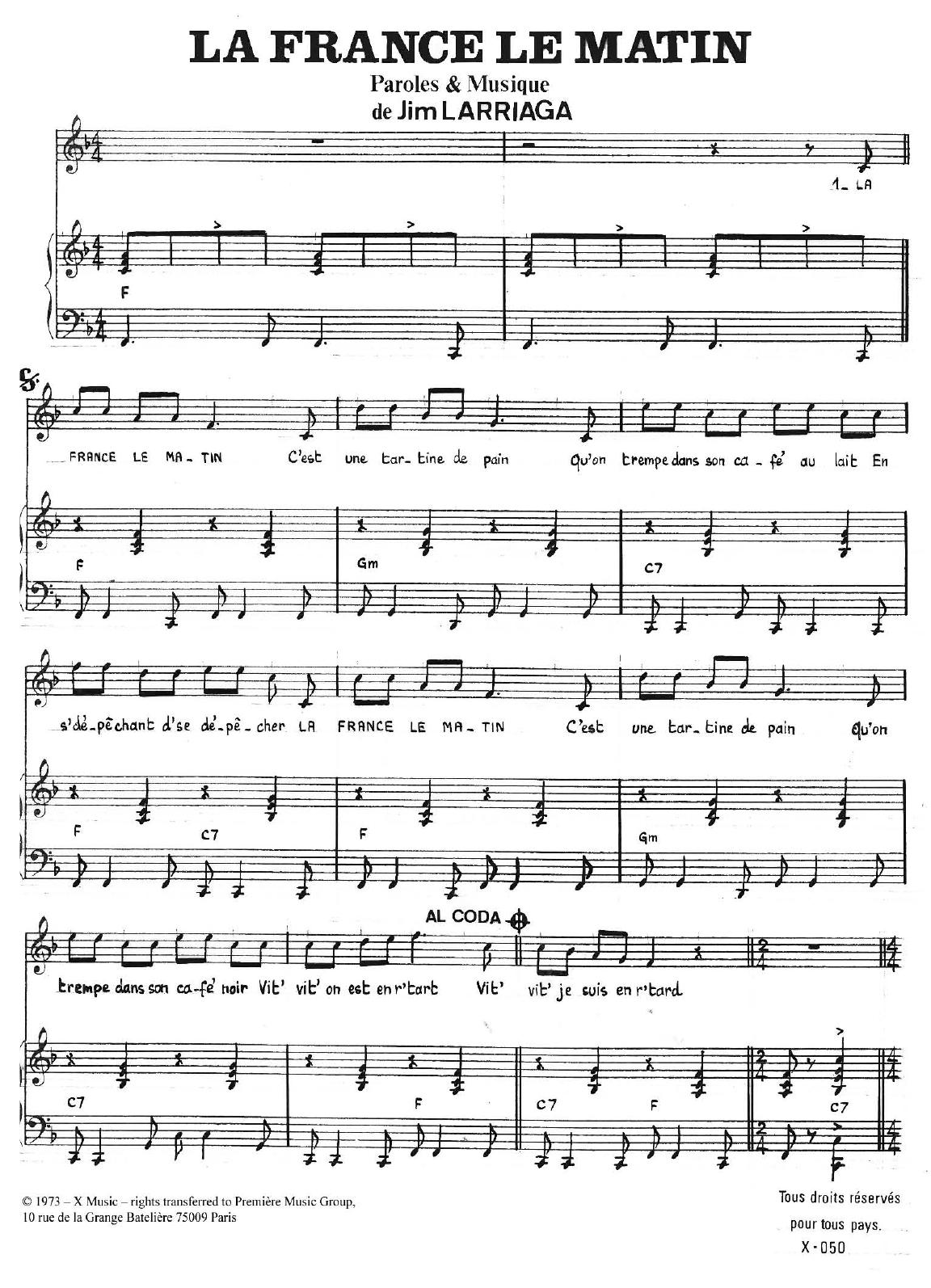 La France Le Matin Sheet Music