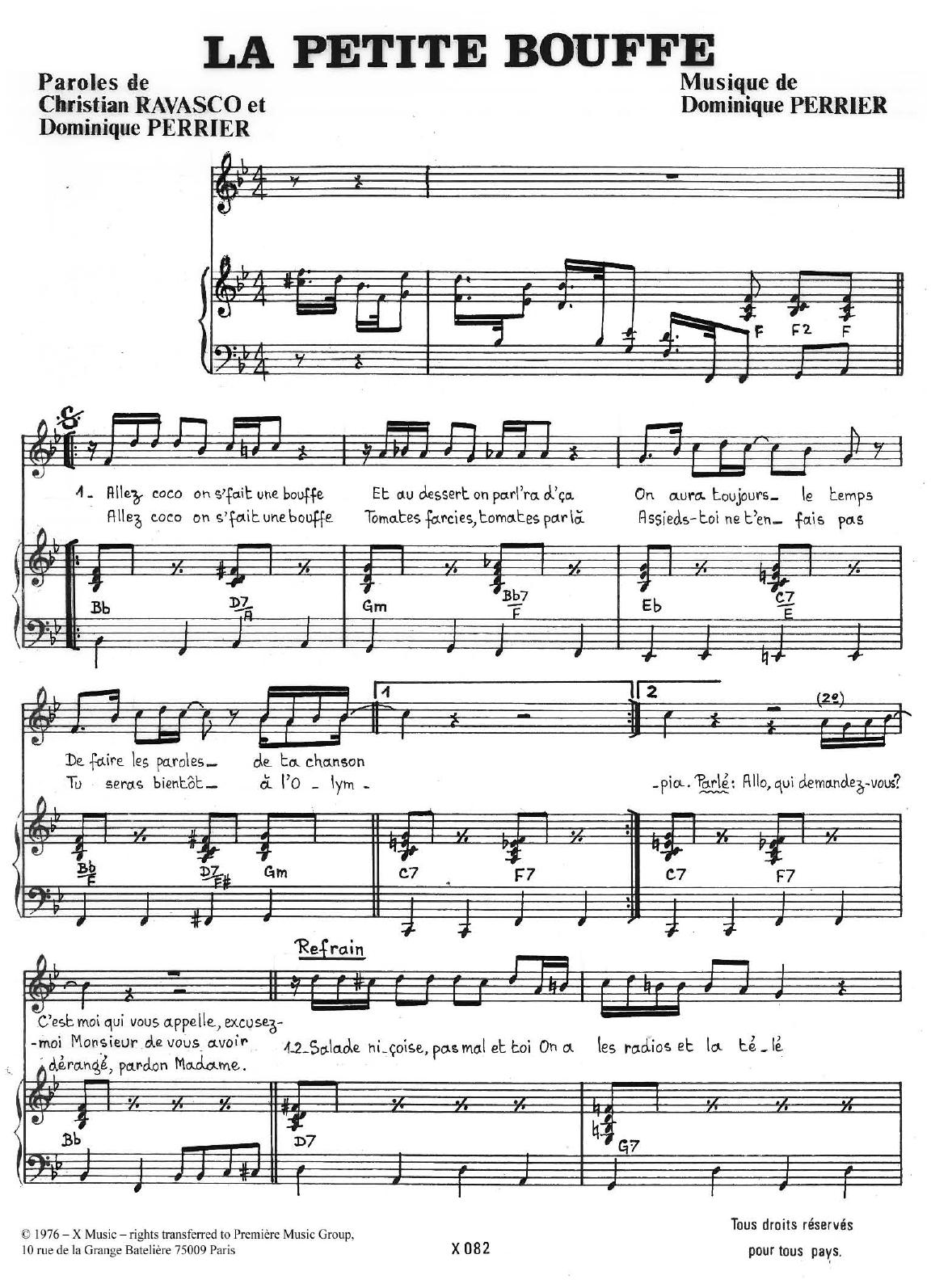 La Petite Bouffe Sheet Music