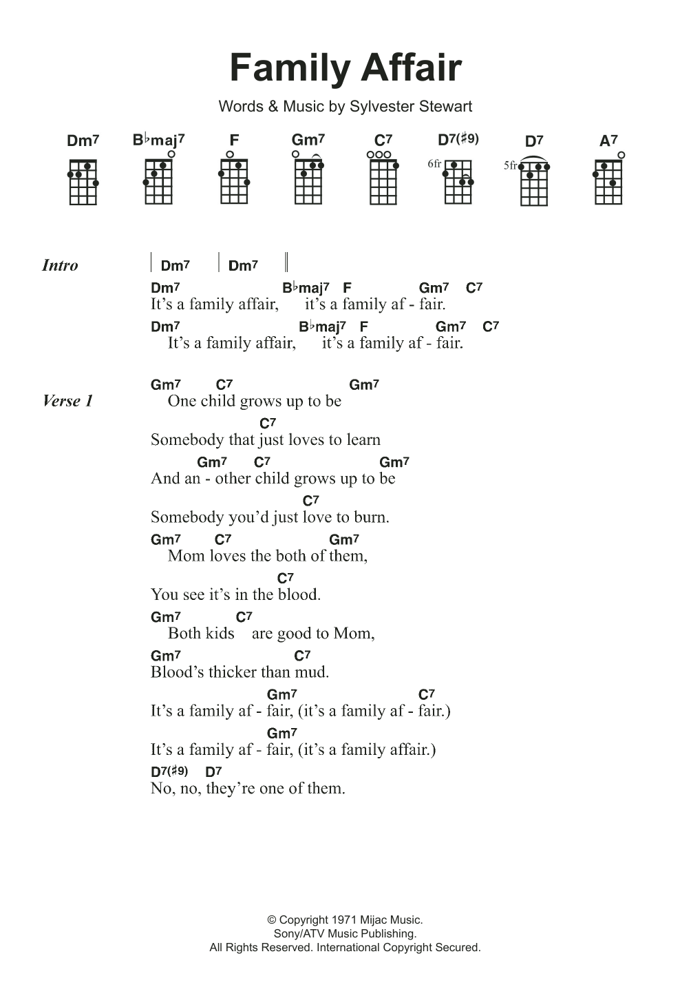 Family Affair Sheet Music