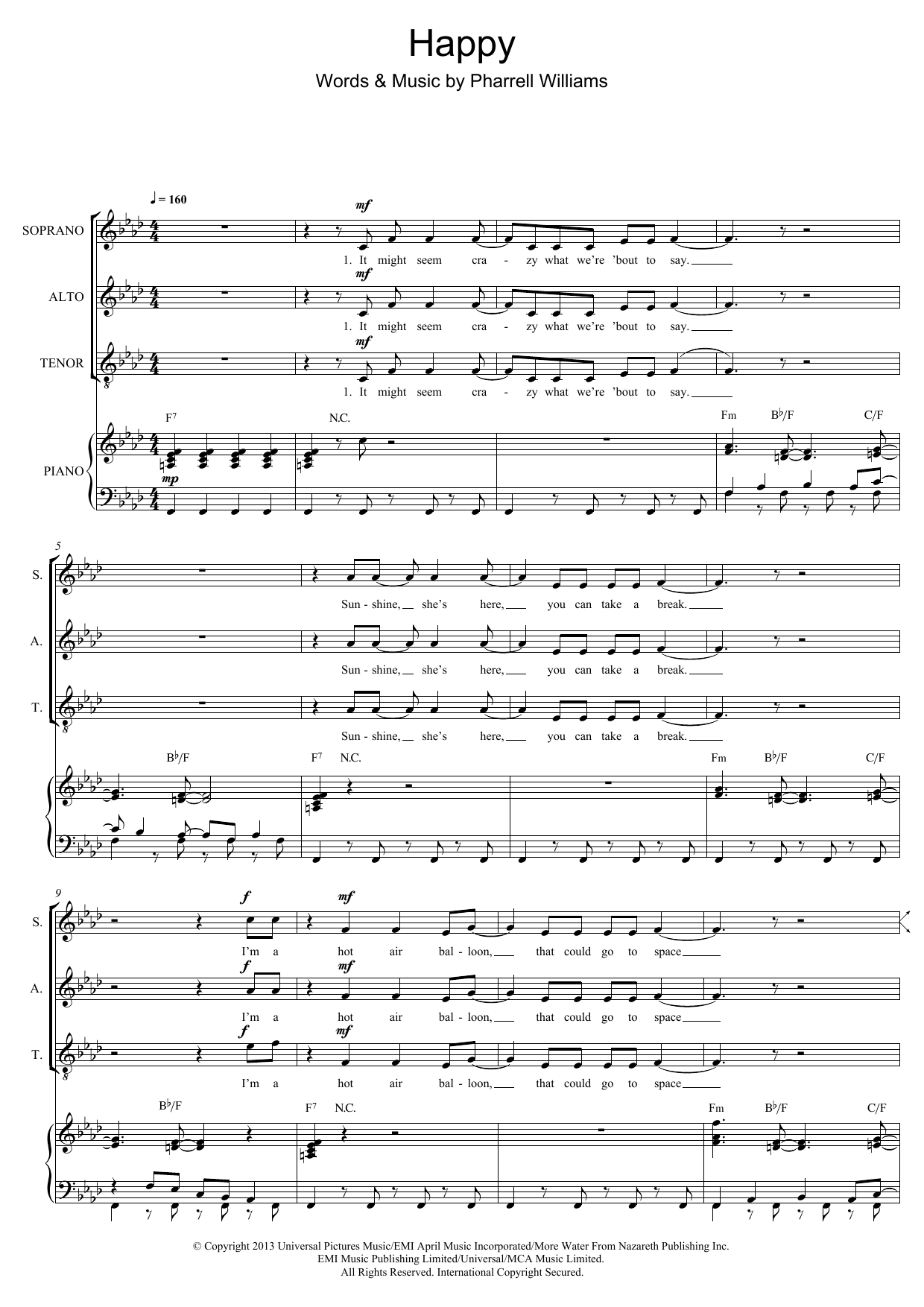 Happy (arr. Mark De-Lisser) Sheet Music