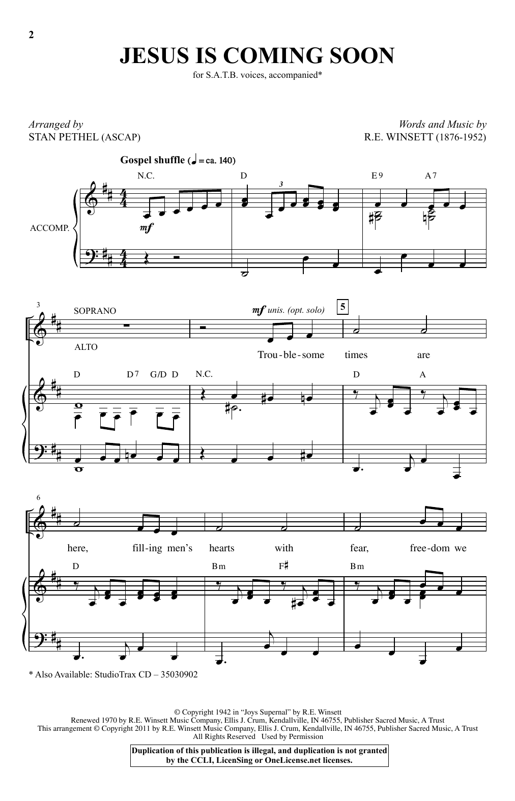 Partition chorale Jesus Is Coming Soon de Stan Pethel - SATB