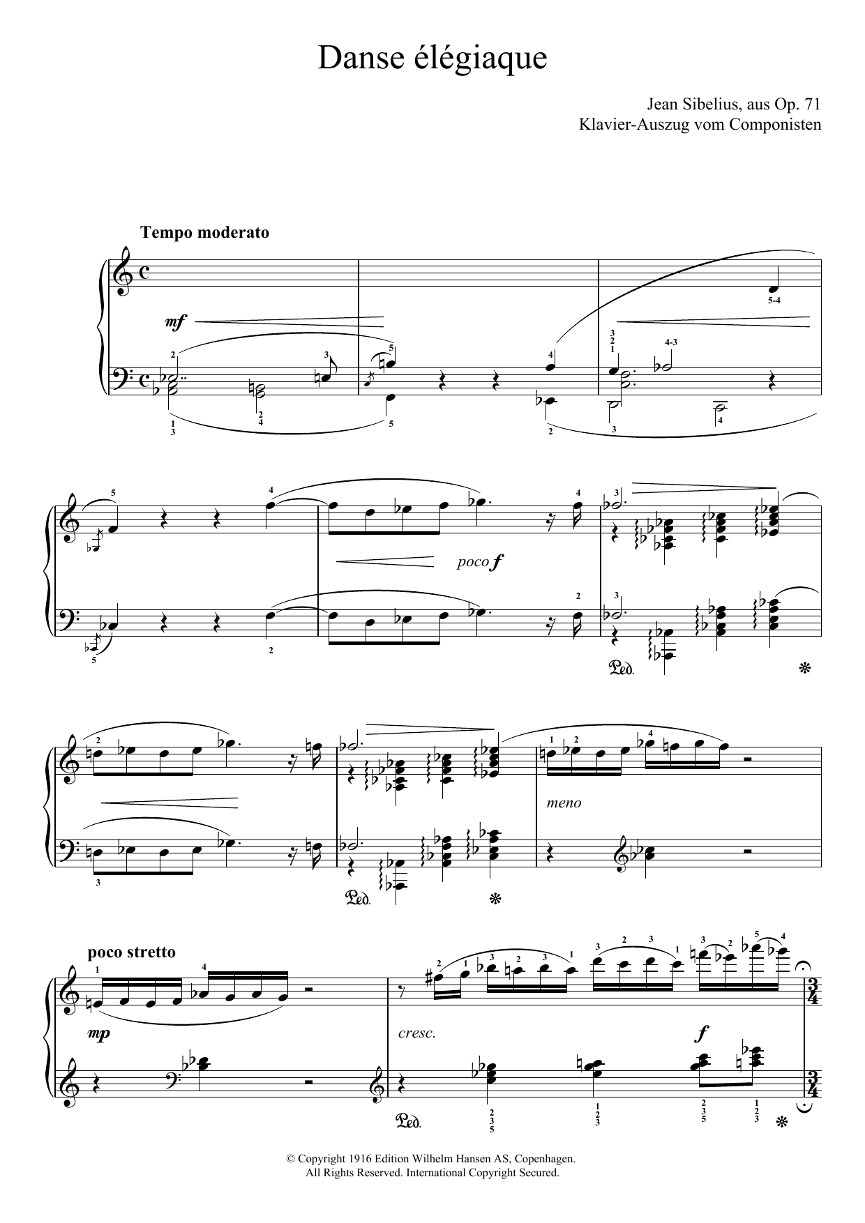 Danse Elegiaque (From Scaramouche, Op.71) Sheet Music