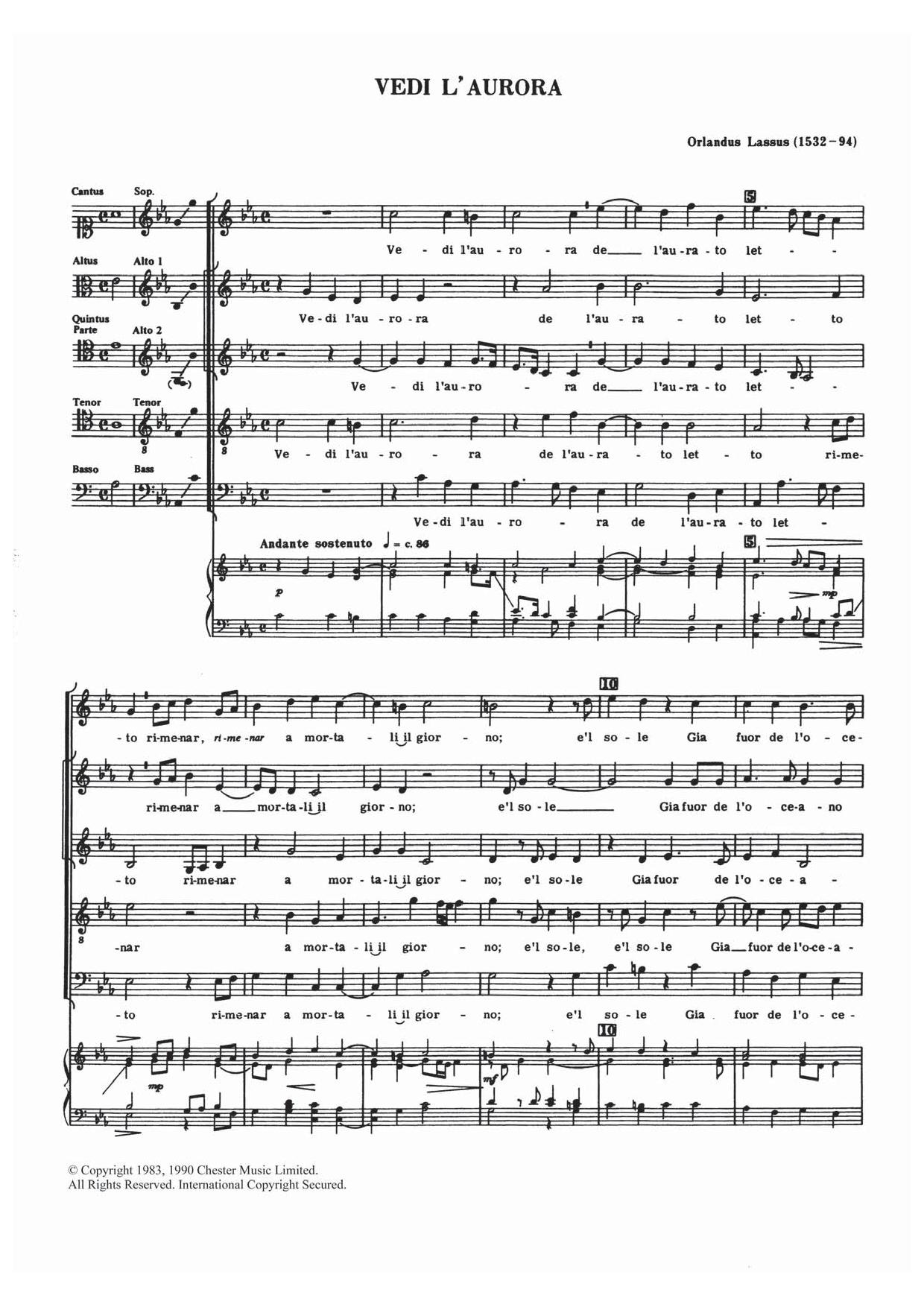 Vedi L'aurora Sheet Music