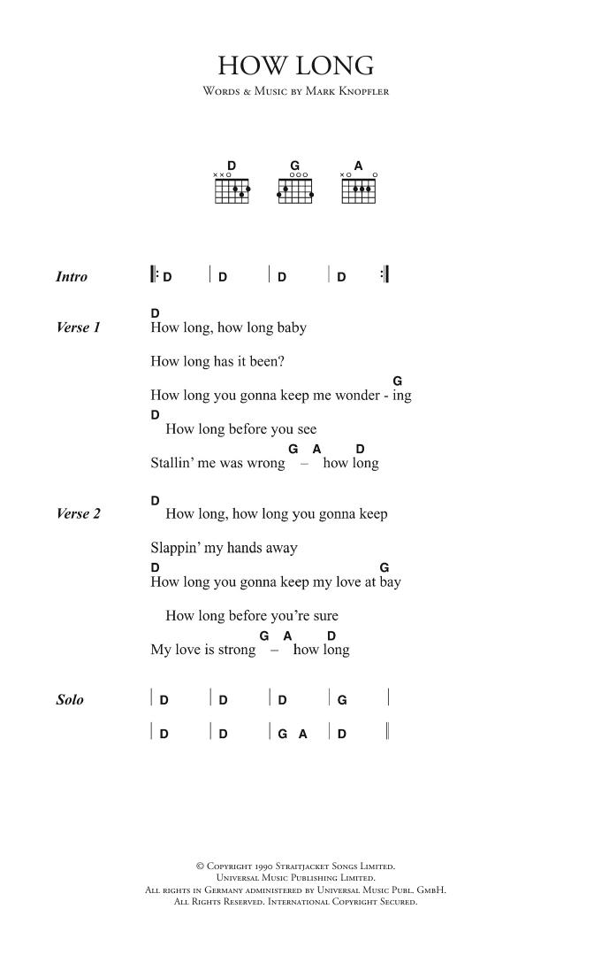 How Long Sheet Music