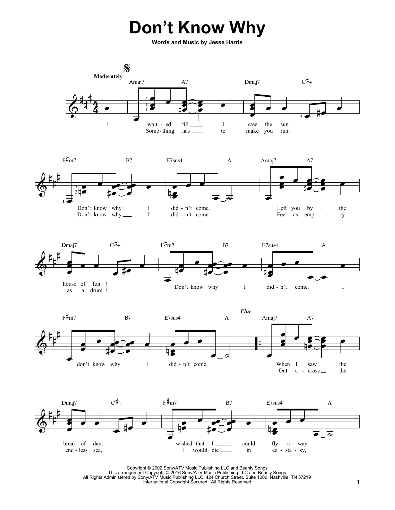 Partition autre Don't Know Why de Norah Jones - Tablature guitare facile