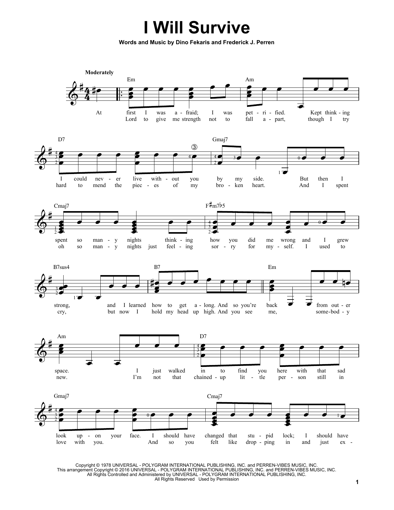 Partition autre I Will Survive de Gloria Gaynor - Tablature guitare facile