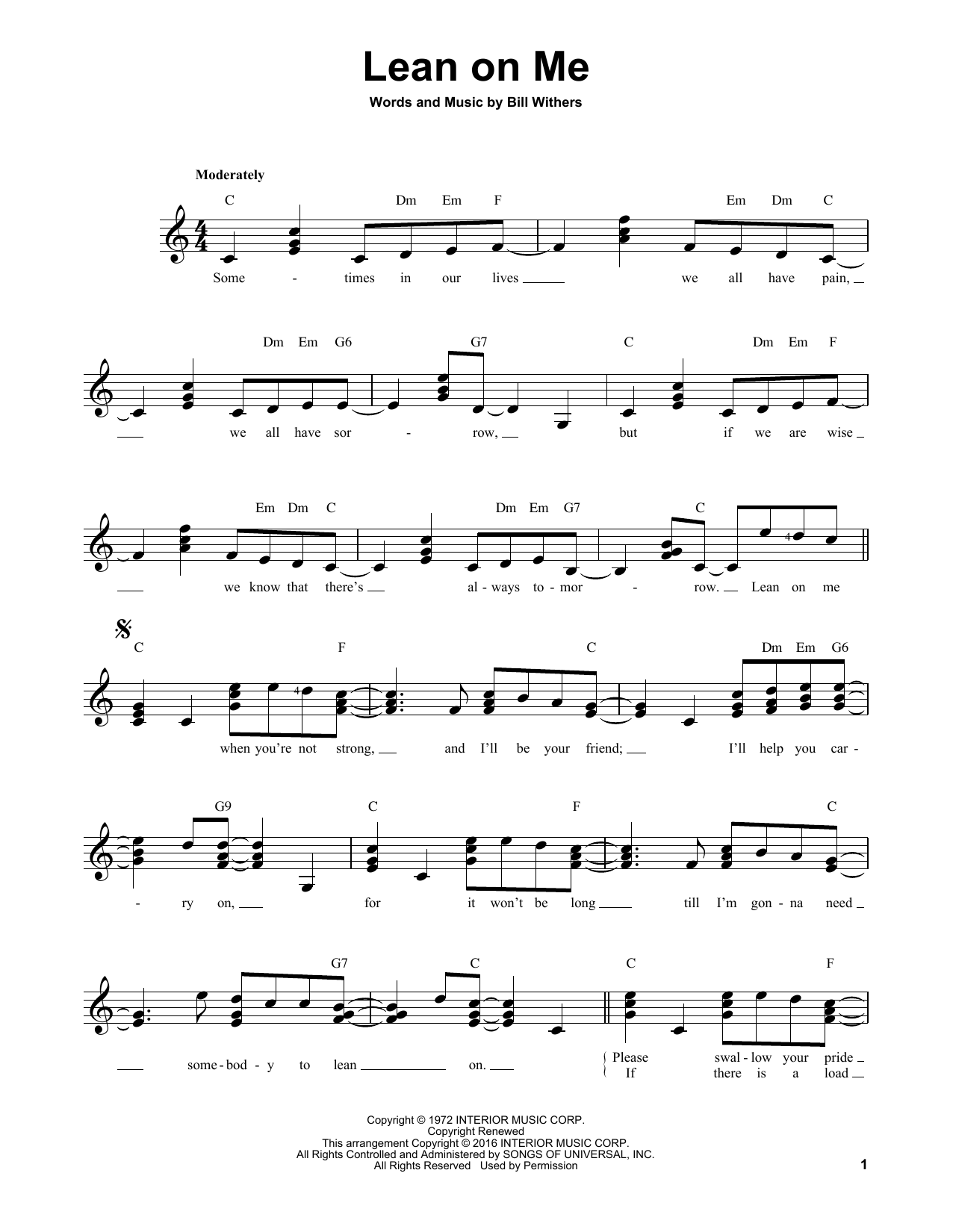 Partition autre Lean On Me de Bill Withers - Tablature guitare facile