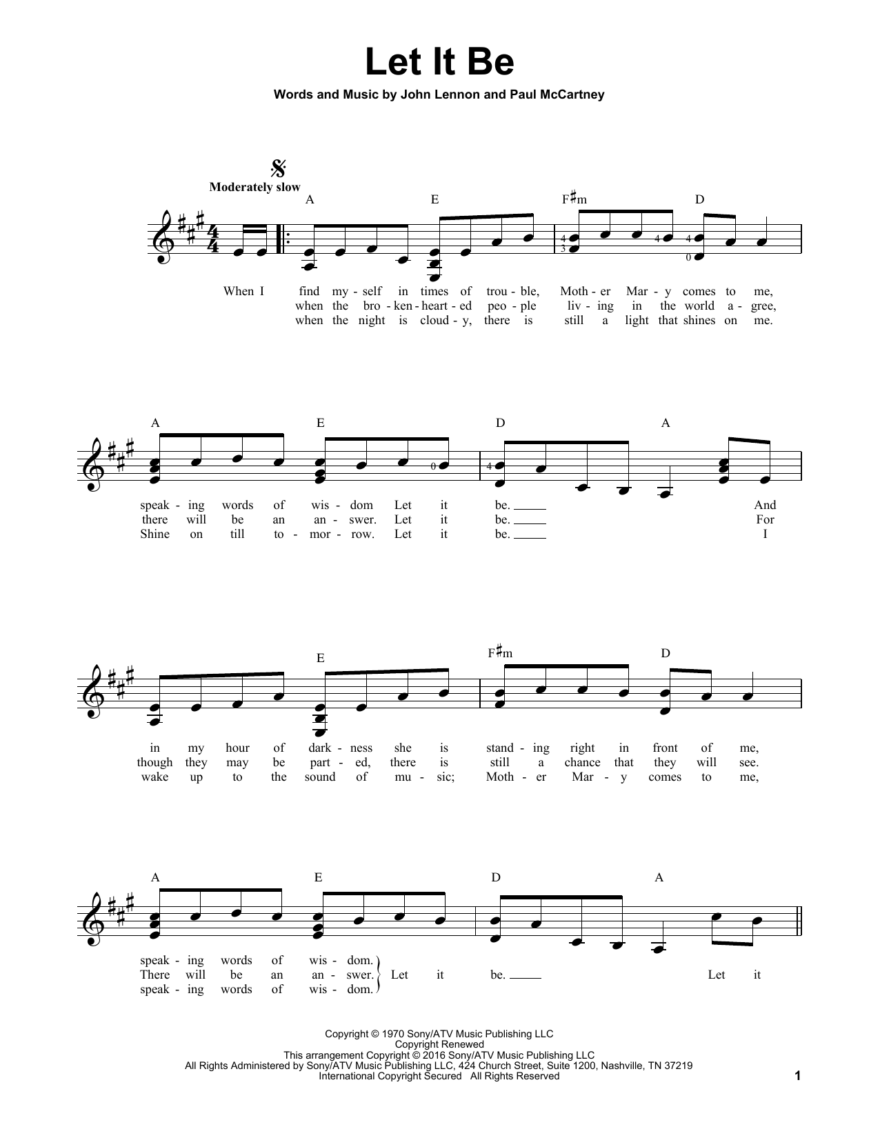 Partition autre Let It Be de The Beatles - Tablature guitare facile