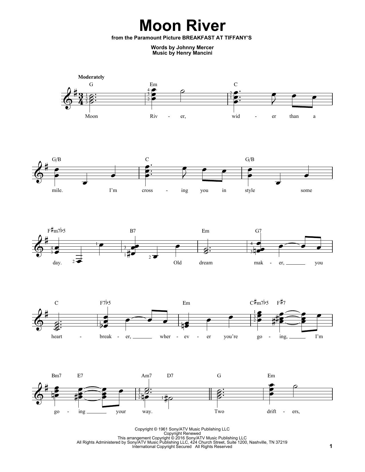 Partition autre Moon River de Henry Mancini - Tablature guitare facile
