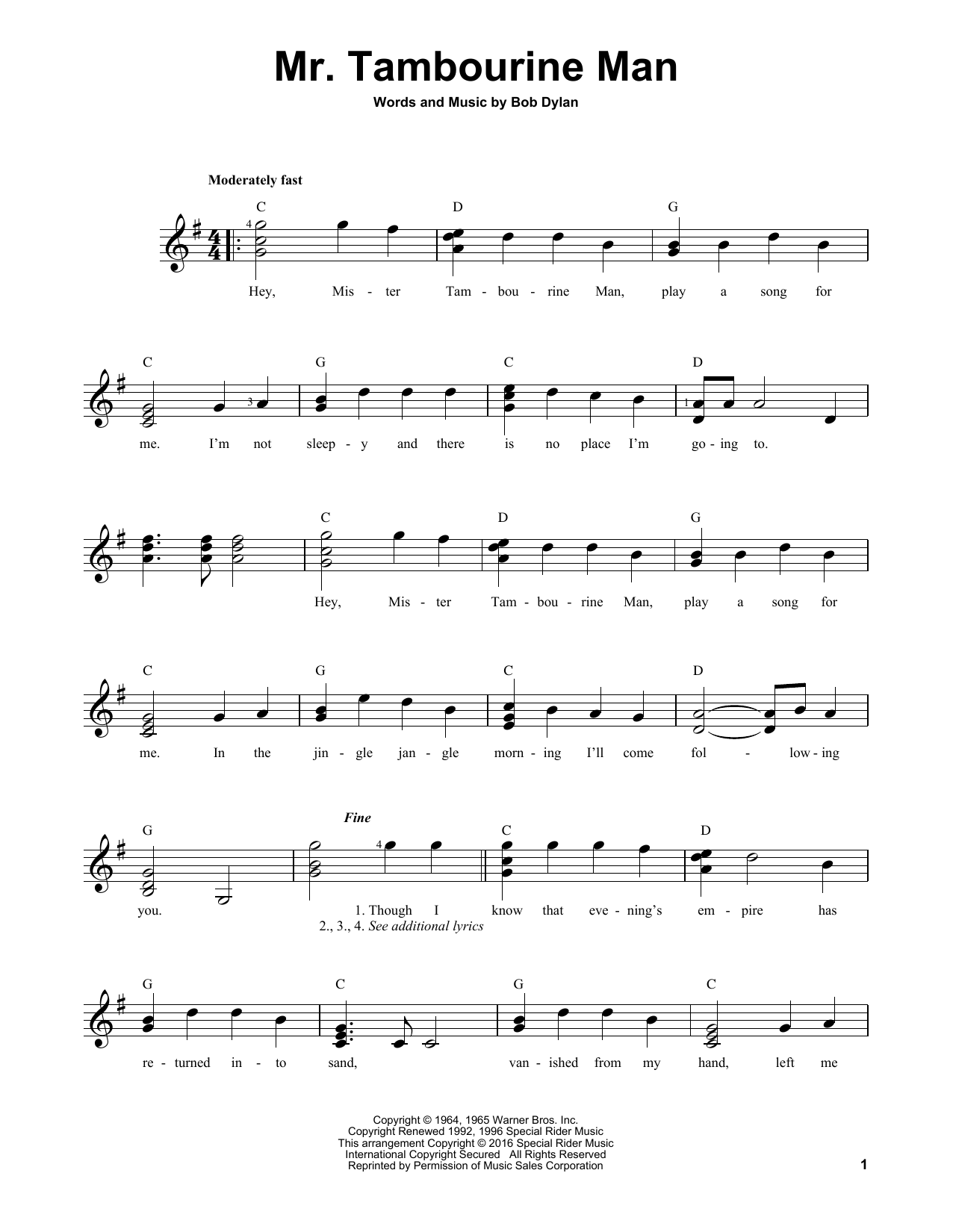 Partition autre Mr. Tambourine Man de Bob Dylan - Tablature guitare facile
