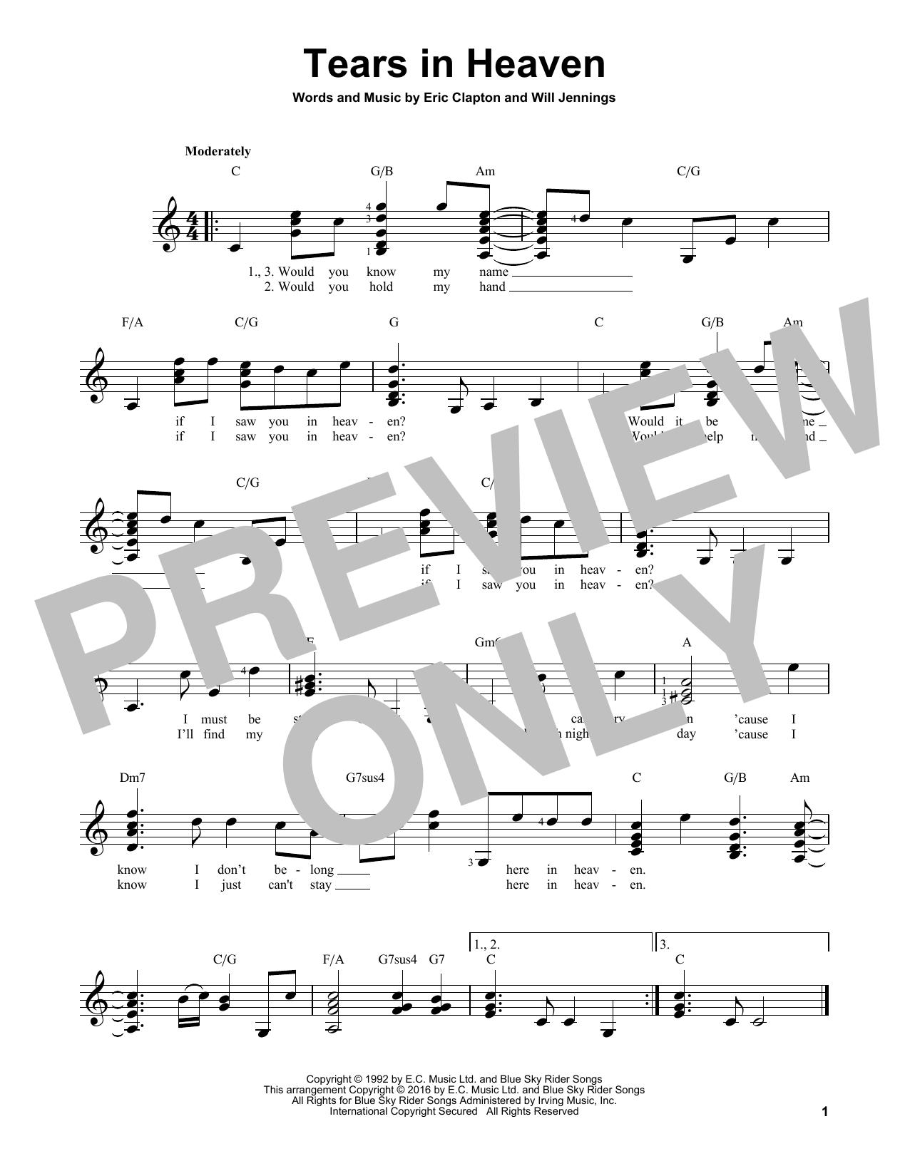 Partition autre Tears In Heaven de Eric Clapton - Tablature guitare facile