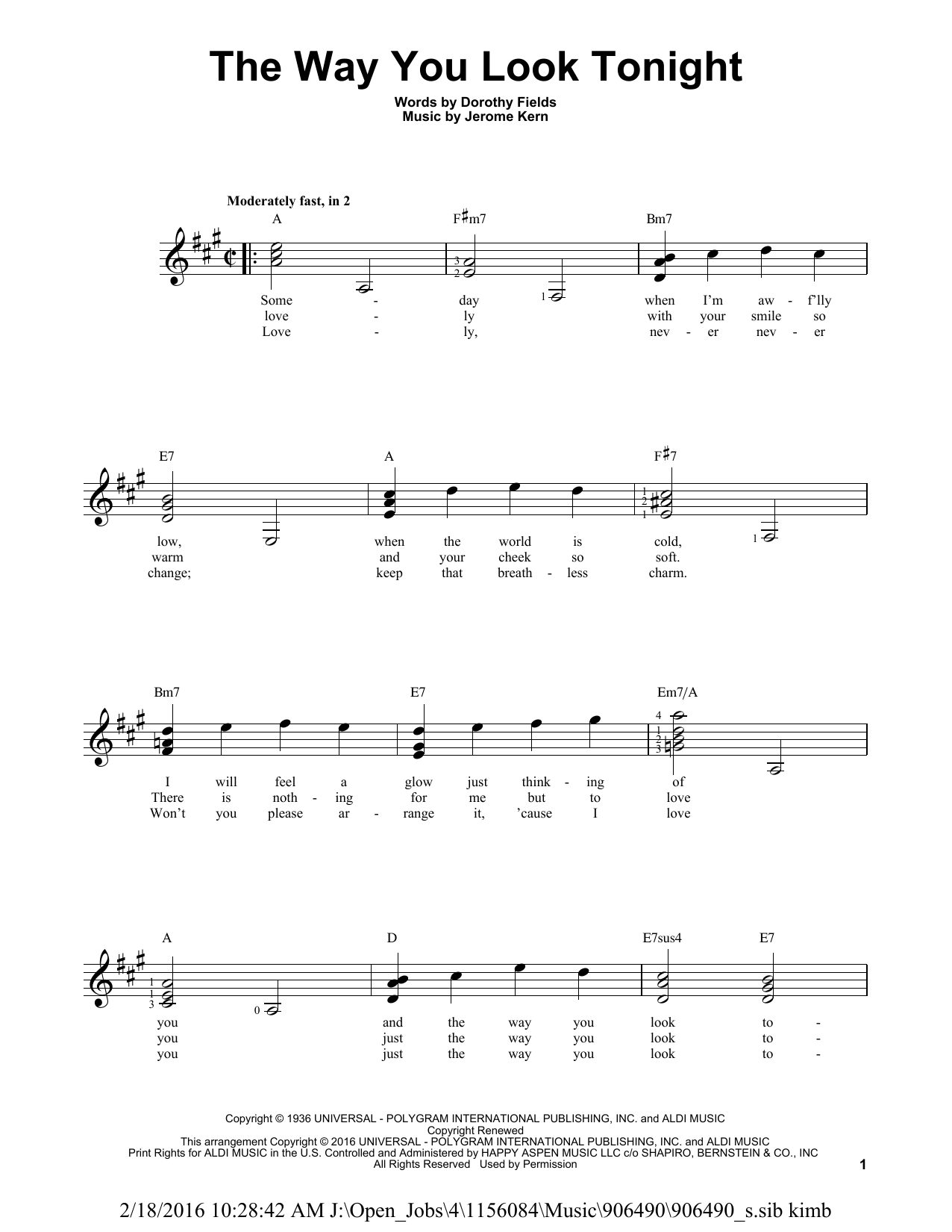 Partition autre The Way You Look Tonight de Jerome Kern - Tablature guitare facile