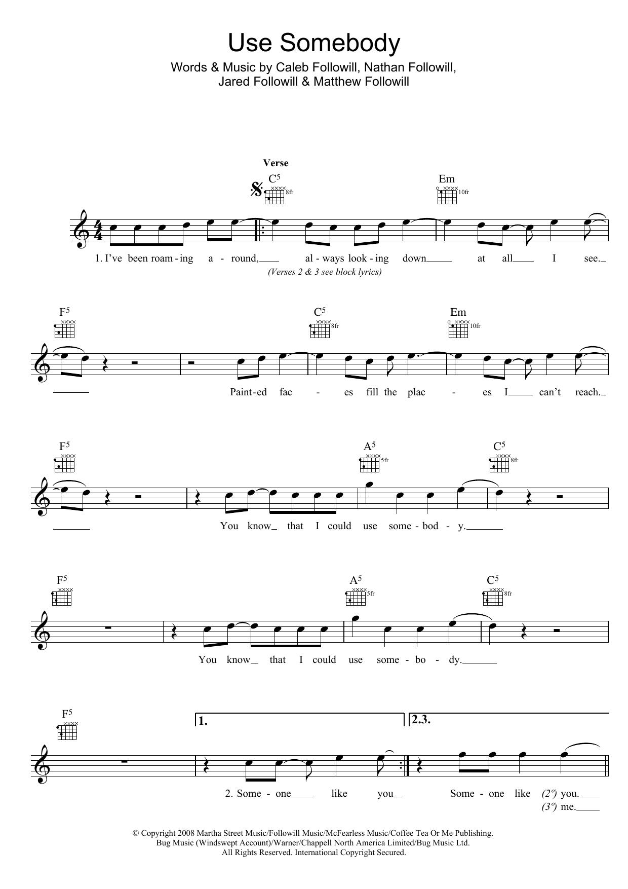 Use Somebody Sheet Music Kings Of Leon Melody Line Lyrics Chords