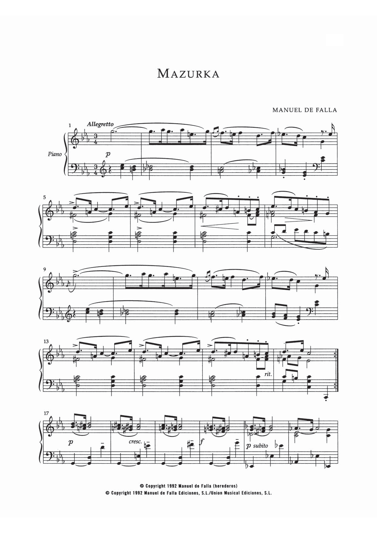 Mazurka In Do Menor Sheet Music