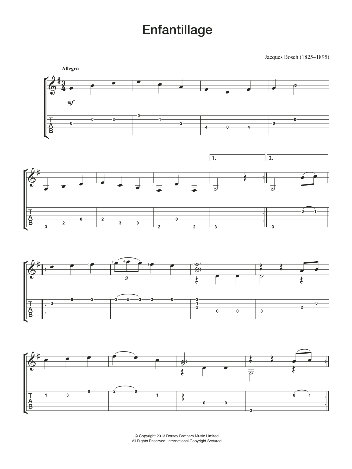 Enfantillage Sheet Music
