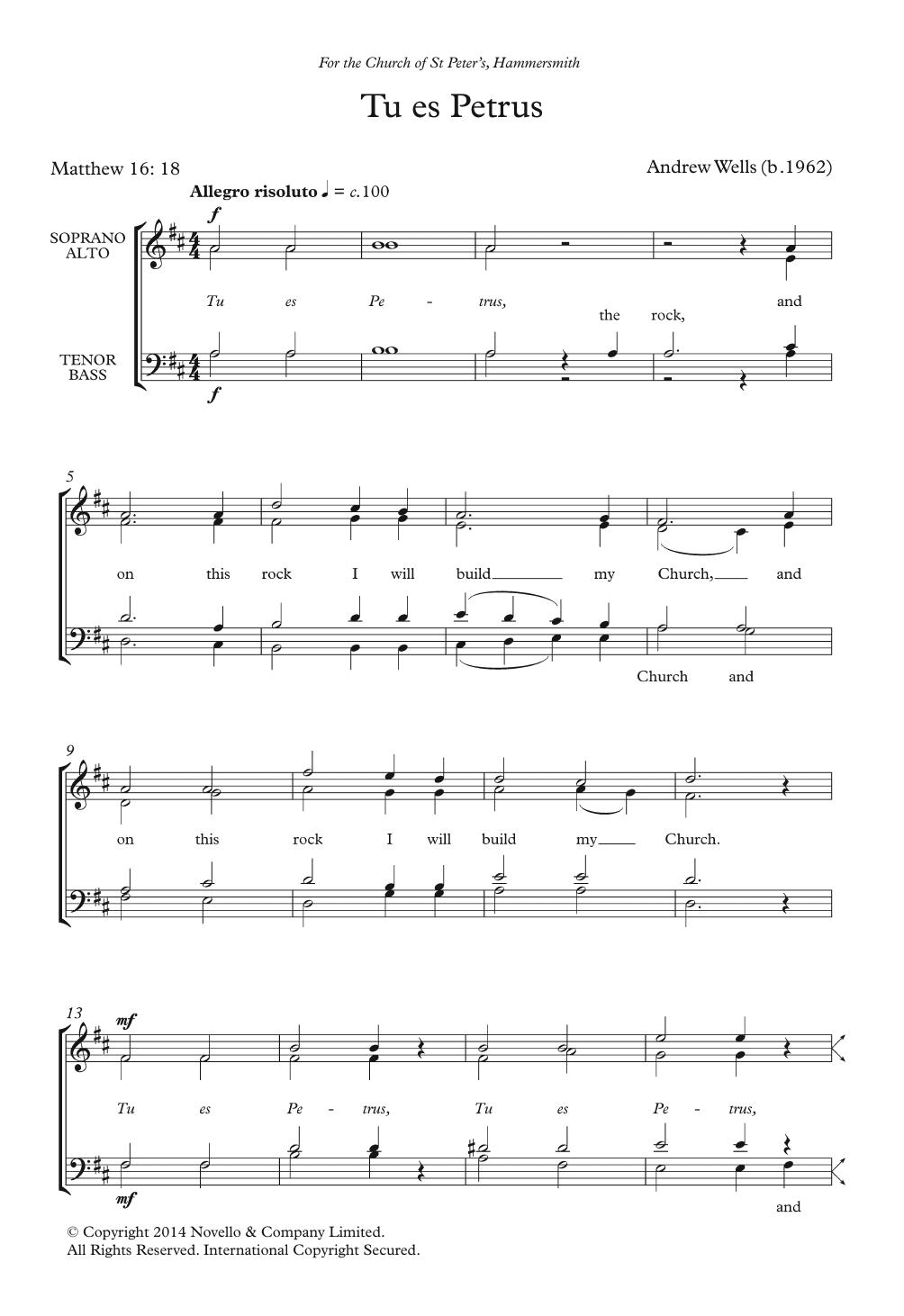 Tu Es Petrus Sheet Music