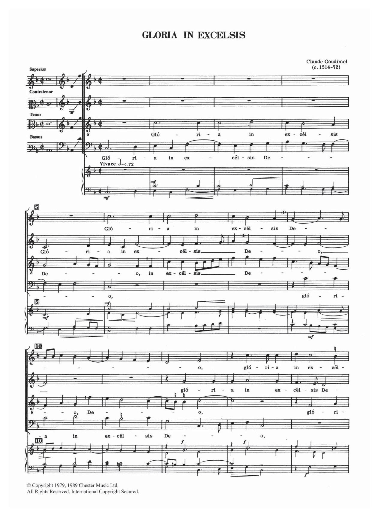 Gloria In Excelsis Sheet Music