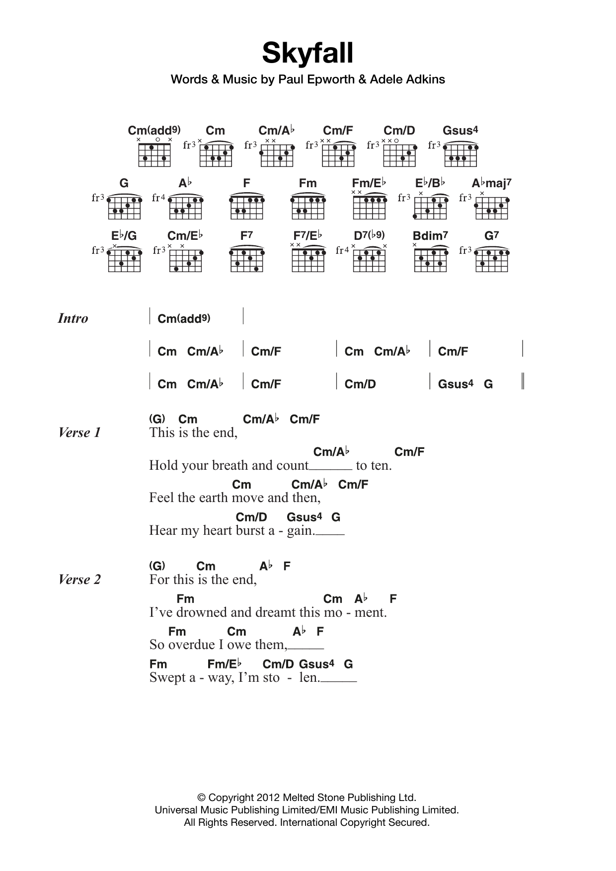Skyfall From The Motion Picture Skyfall By Adele Guitar Chords