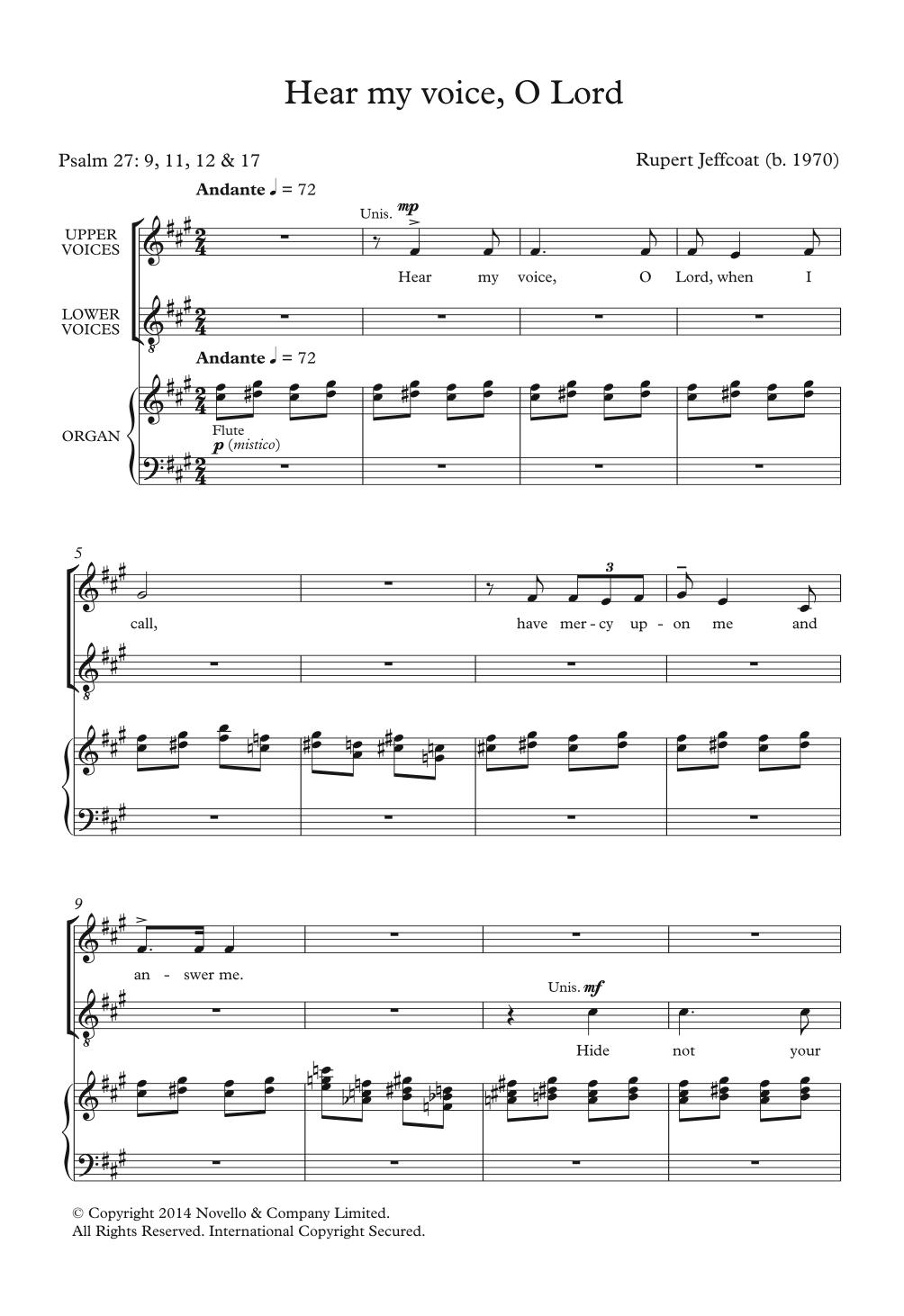 Hear My Voice, O Lord Sheet Music