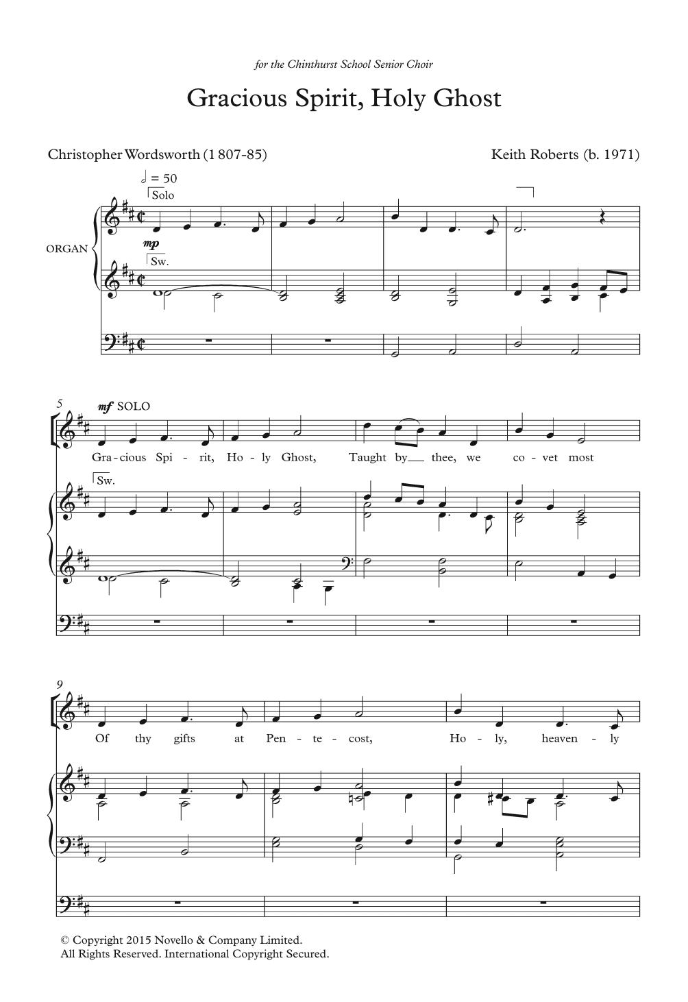 Gracious Spirit, Holy Ghost Sheet Music