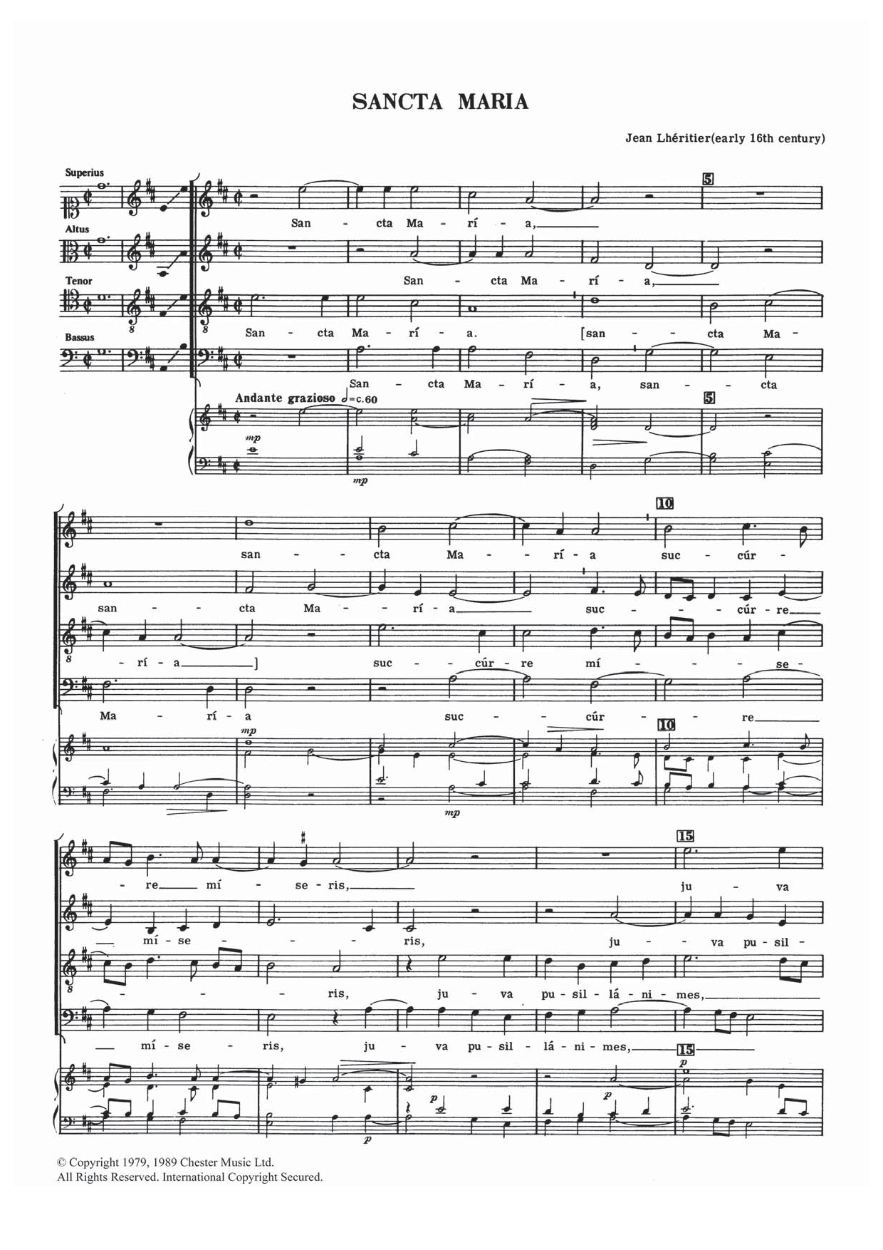 Sancta Maria Sheet Music