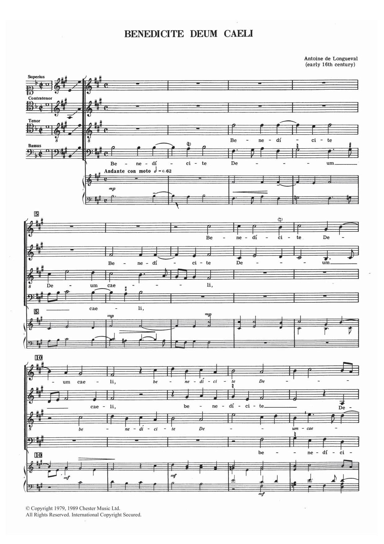 Benedicte Deum Caeli Sheet Music