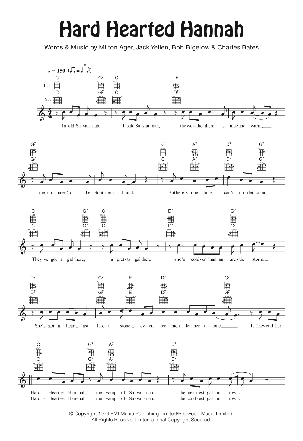 Hard Hearted Hannah Sheet Music