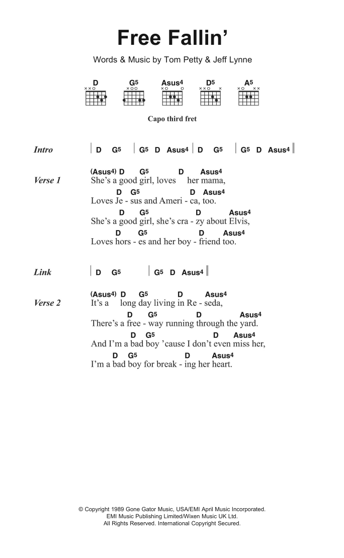 Free Fallin Sheet Music Tom Petty Lyrics Chords