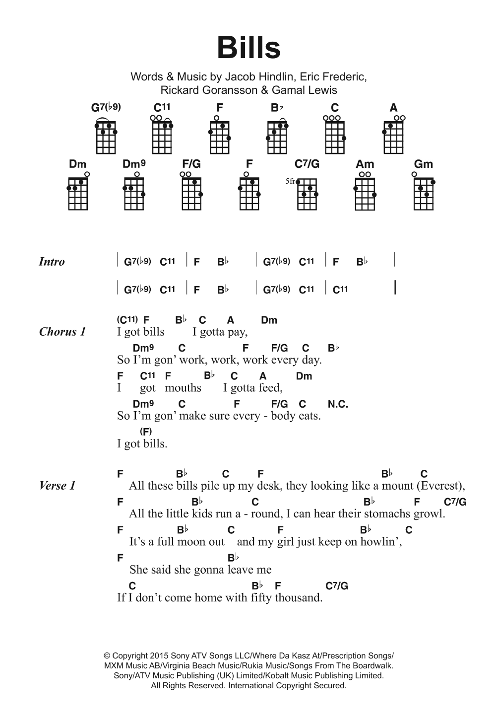 Bills Sheet Music