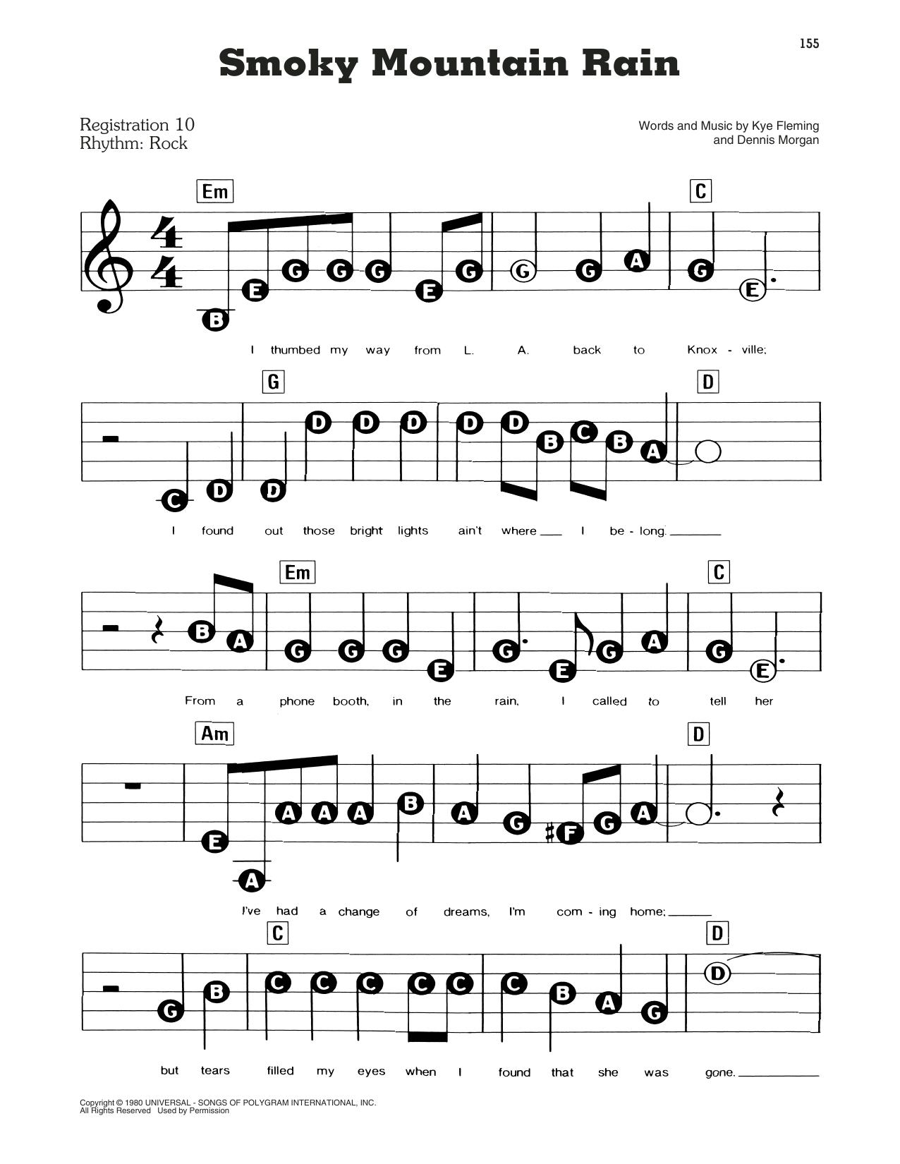 Smoky Mountain Rain (E-Z Play Today)