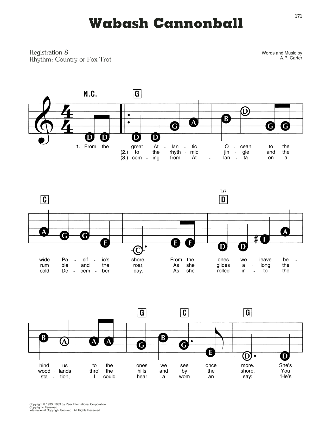 Wabash Cannonball Sheet Music