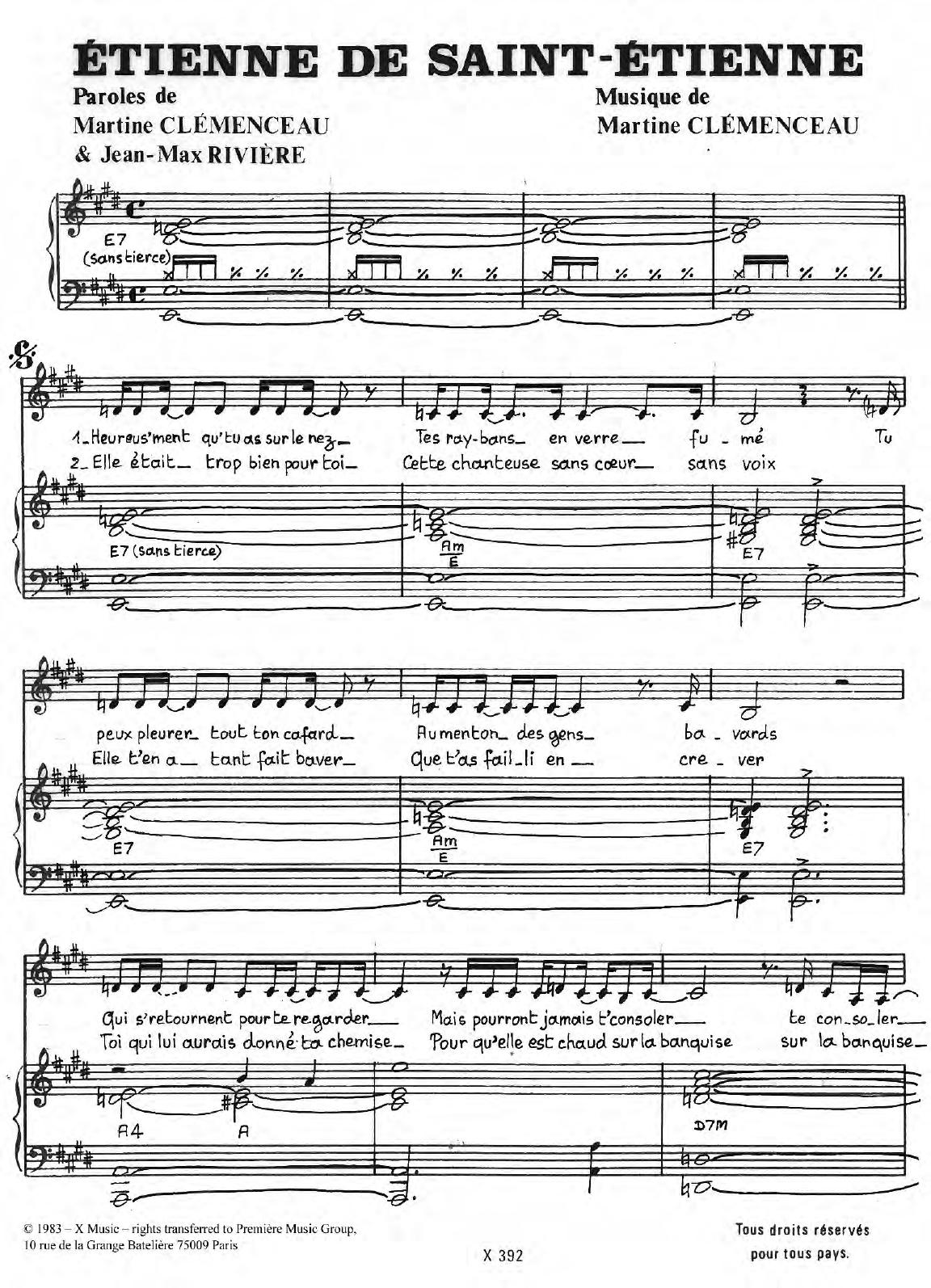 Etienne De Saint-Etienne Sheet Music