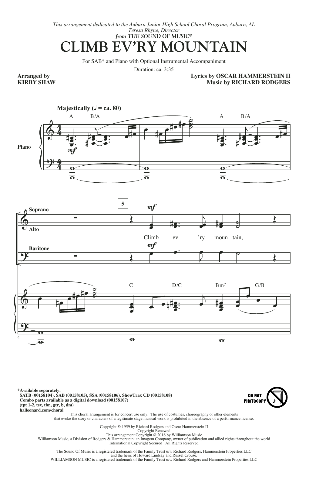 Climb Ev'ry Mountain Sheet Music