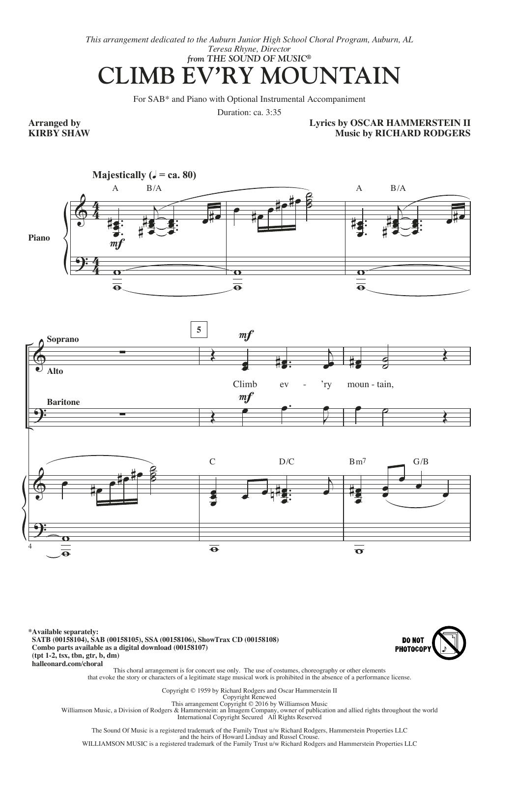 Partition chorale Climb Ev'ry Mountain de Patricia Neway - SAB