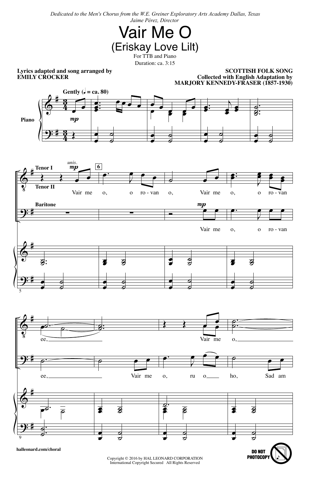 Vair Me O (Eriskay Love Lilt) (arr. Emily Crocker) Sheet Music