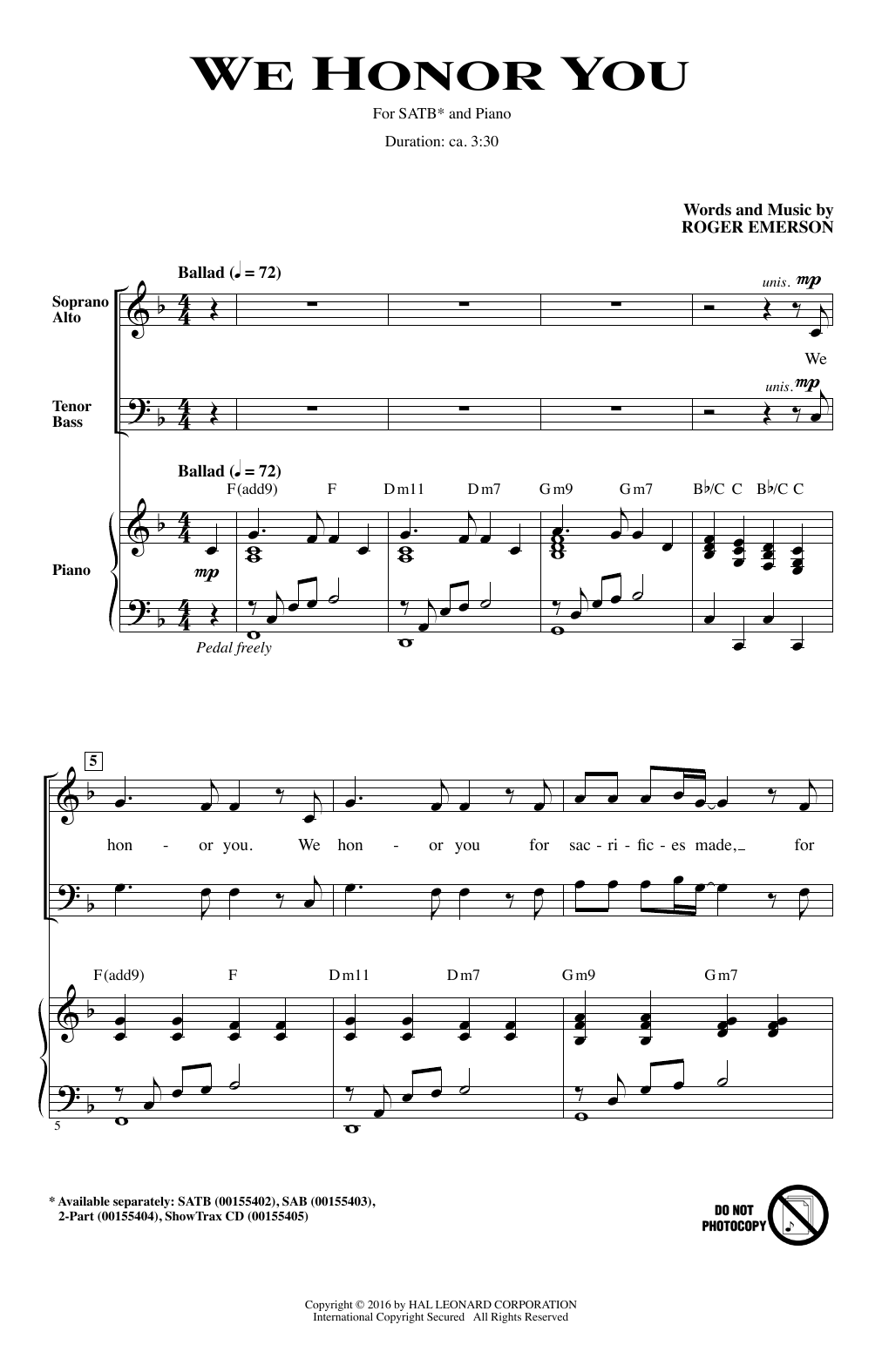 Partition chorale We Honor You de Roger Emerson - SATB