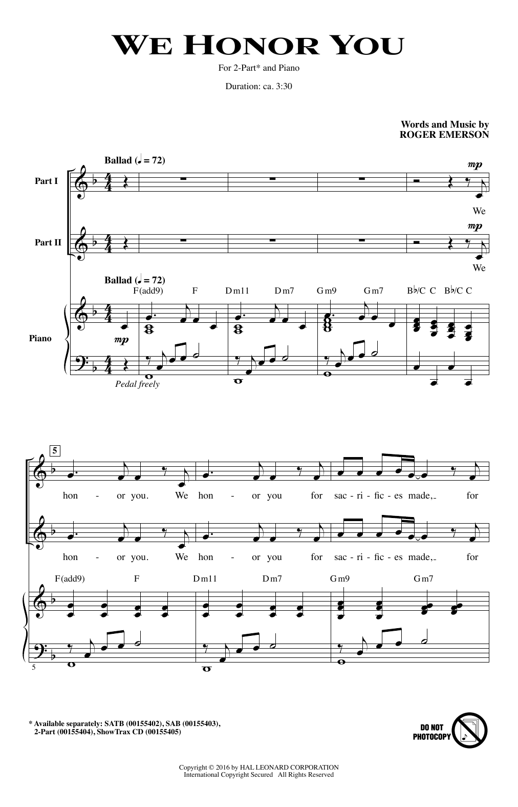 We Honor You Sheet Music