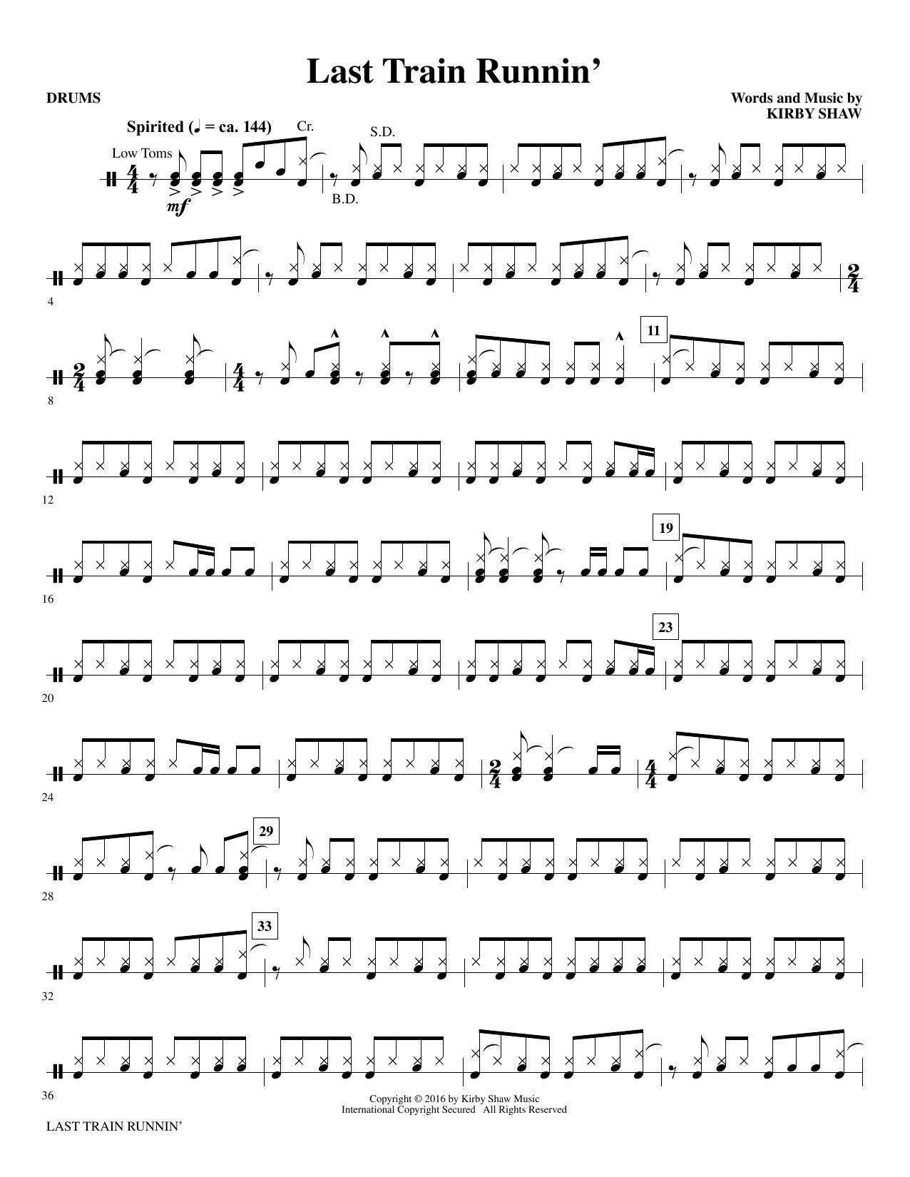 Last Train Runnin' - Drums (Choir Instrumental Pak)