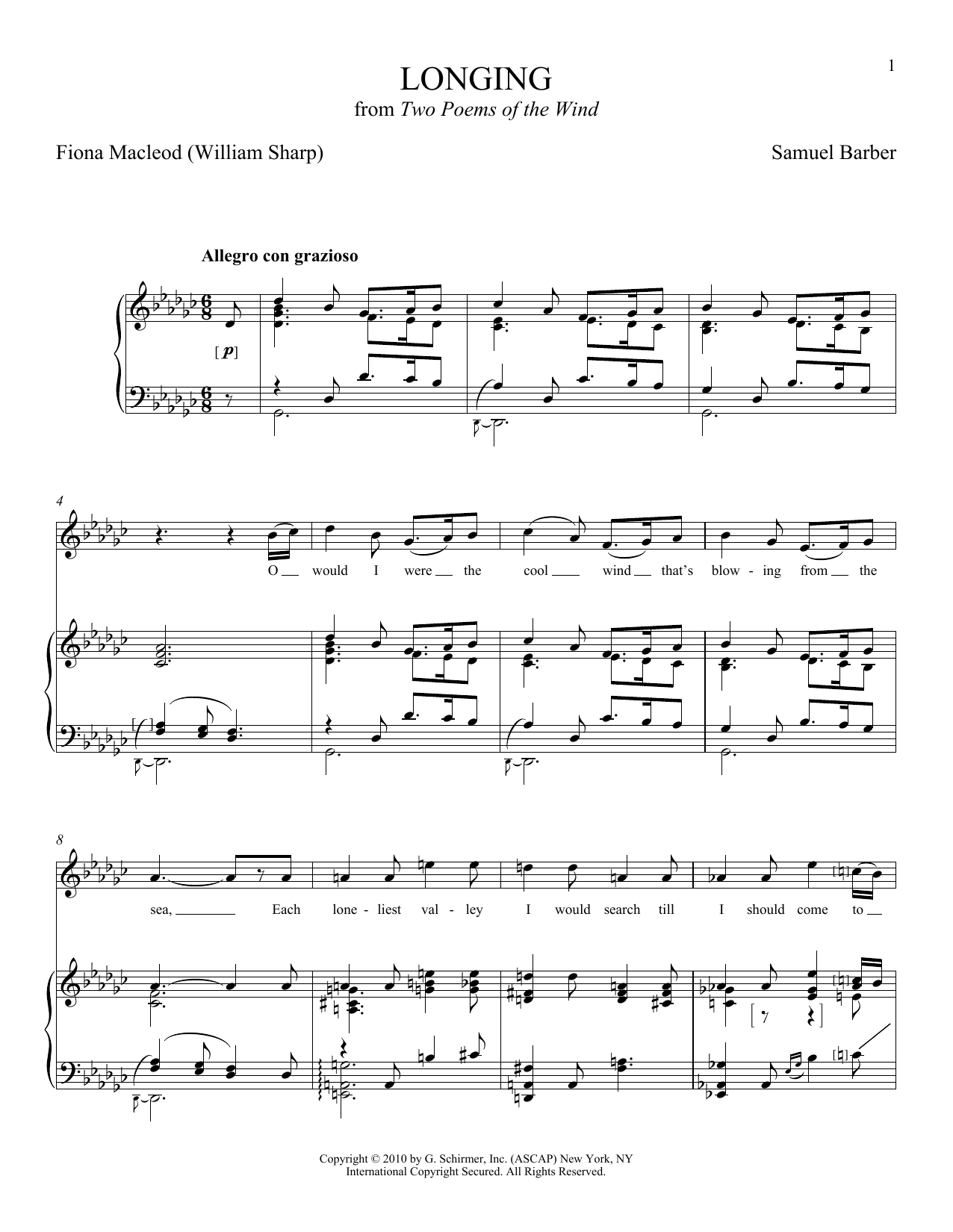 Partition piano Longing de Joan Frey Boytim - Piano Voix