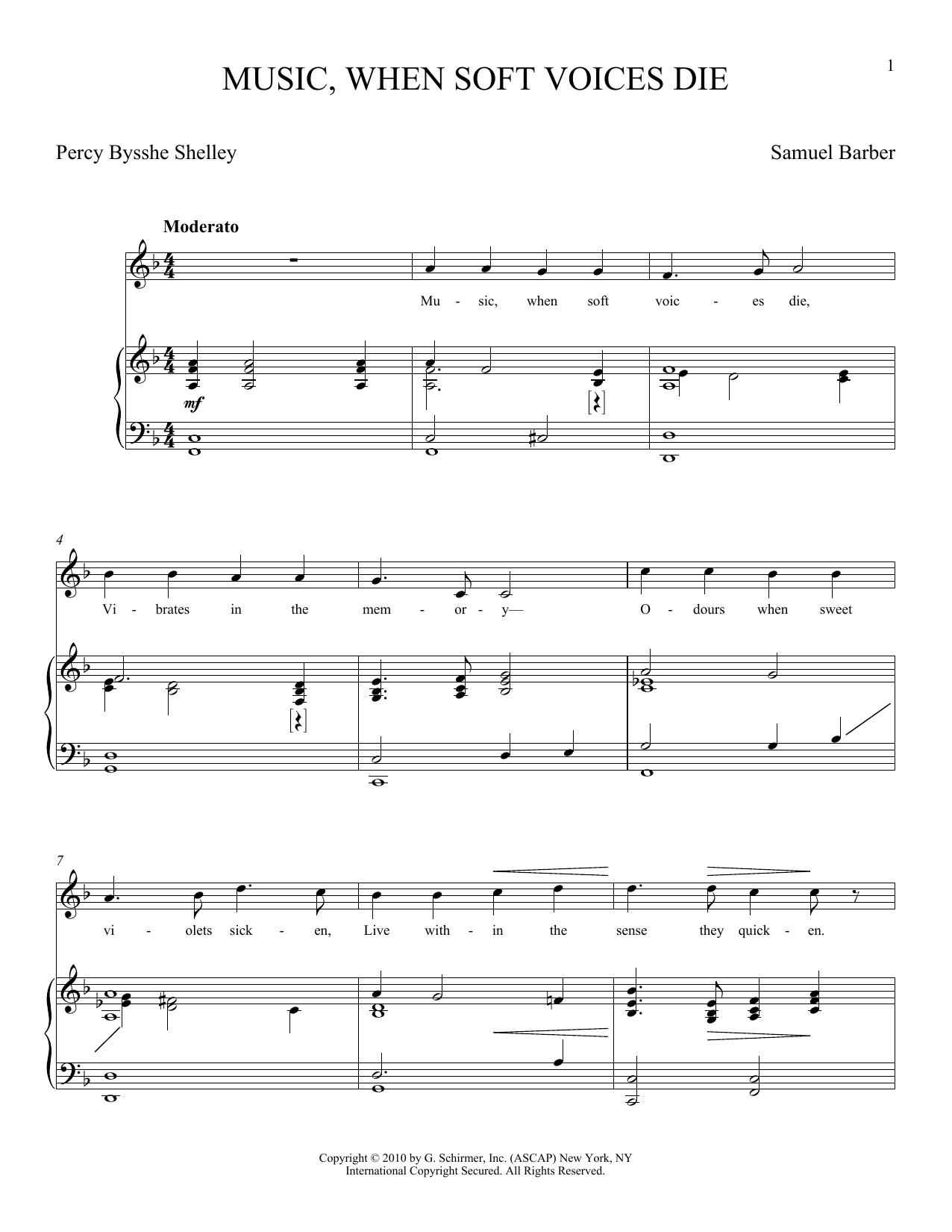 Partition piano Music, When Soft Voices Die de Joan Frey Boytim - Piano Voix
